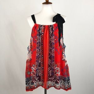 Want And Need Red Print Sleeveless Top, NWT 2X